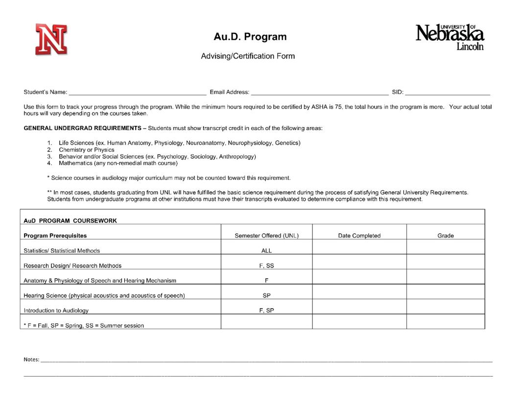 Appendix 1: Au.D. Advising Form & Curriculum Guides | College of ...