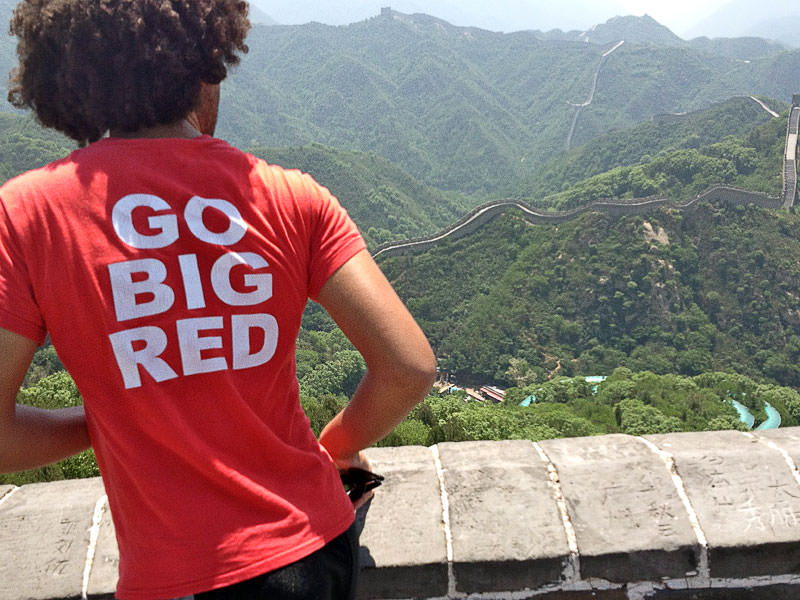 Go Big Red—Nebraska student at the Great Wall of China