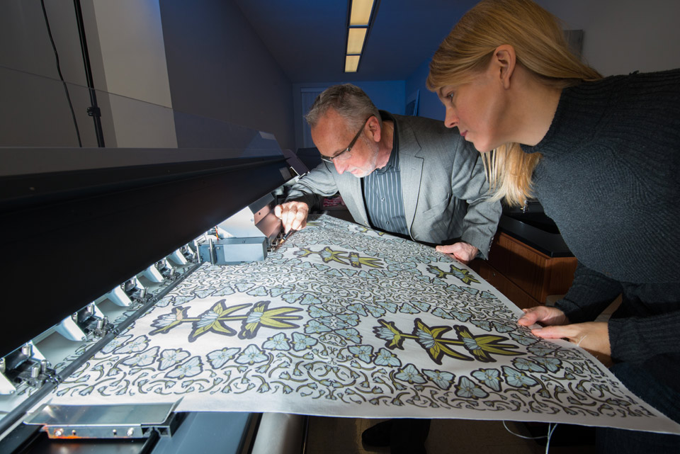 Professor Michael James with student in Digital Textile Printing Laboratory