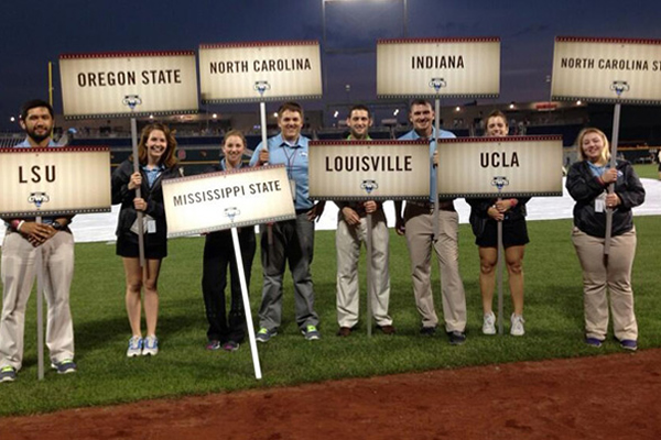 Betsy Ronspies second from left at College World Series at TD Ameritrade Park