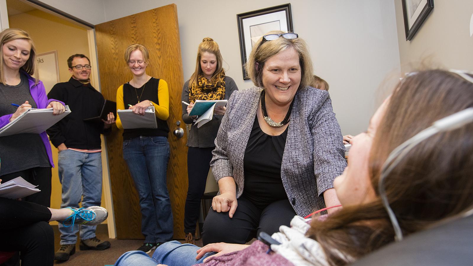 Dr. Sherri Jones teaches students in Nebraska's Doctor of Audiology program.