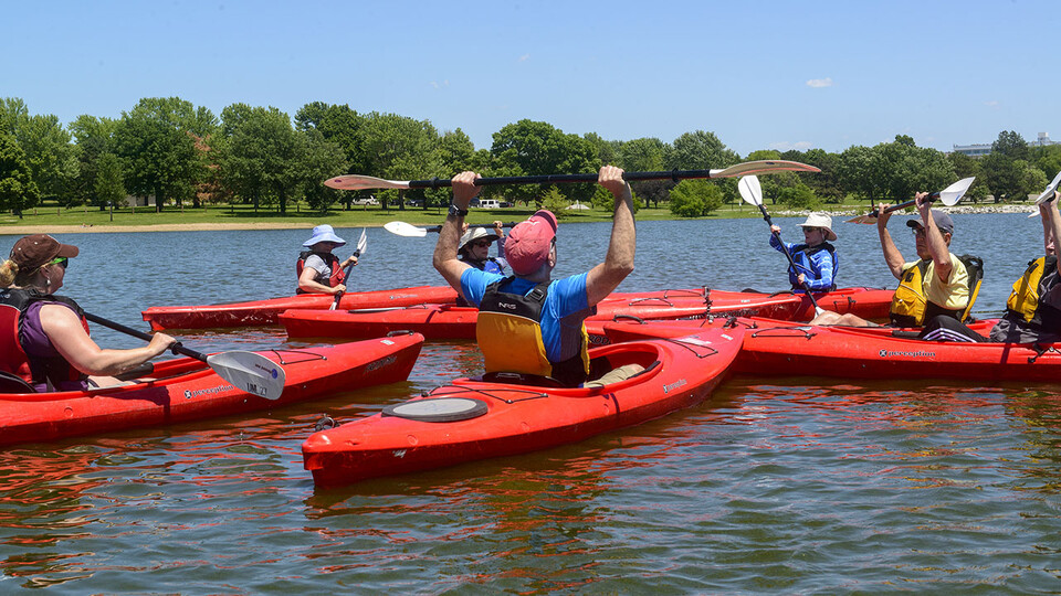OLLI members kayaking on Holmes Lake.
