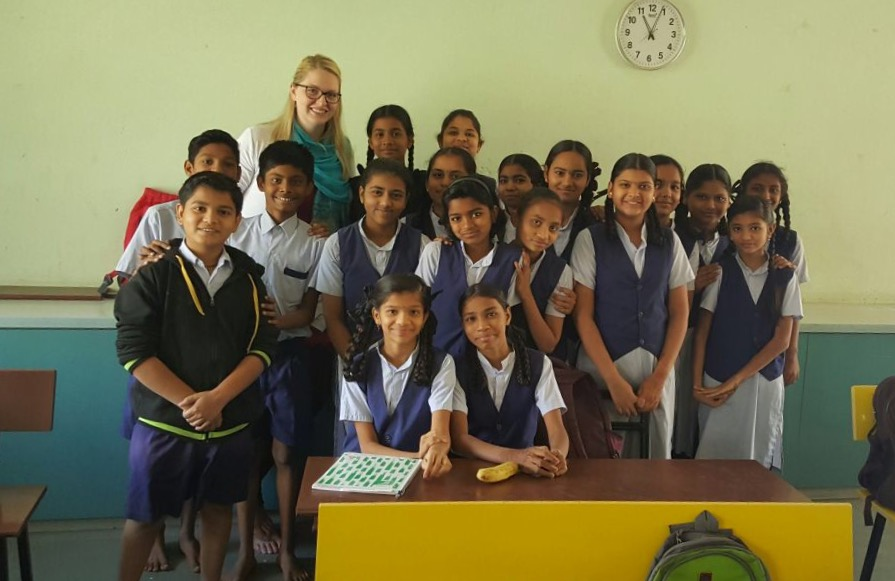 Sarah Erwin spends time with an Anubhuti 7th grade classroom