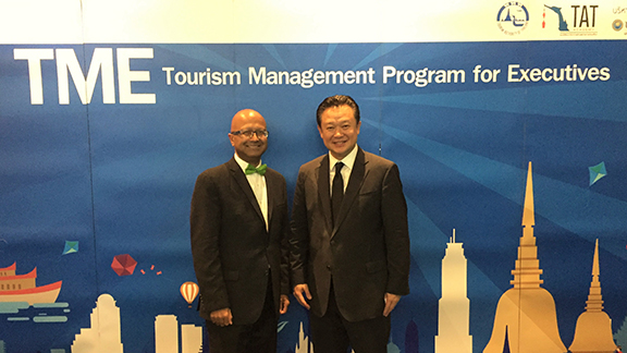 Dipra Jha (L) with Dr. Yuthasak Supasorn, Governor, Tourism Authority of Thailand.