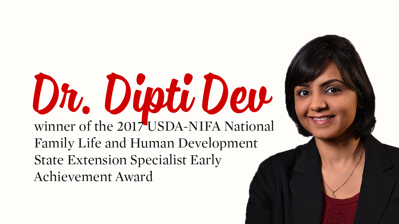 Dipti Dev wins National USDA NIFA Extension Specialist Award