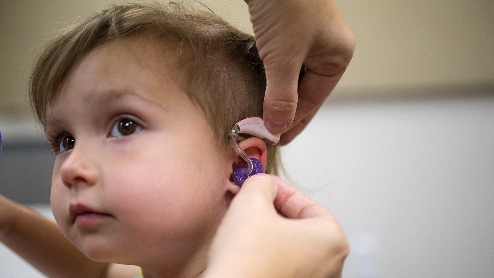Evie Rausch is one of the children who has received hearing aids through HearU Nebraska.