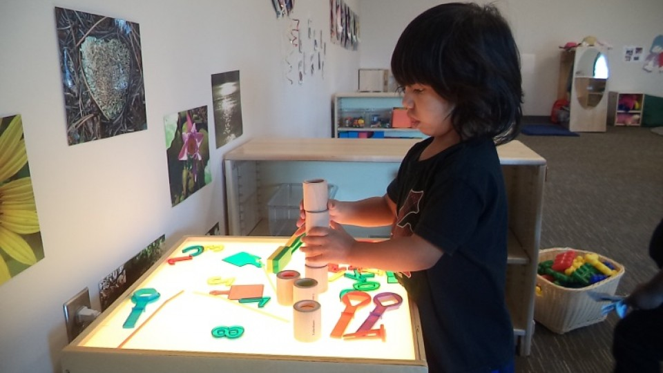 Toddler playing with blocks and cutouts