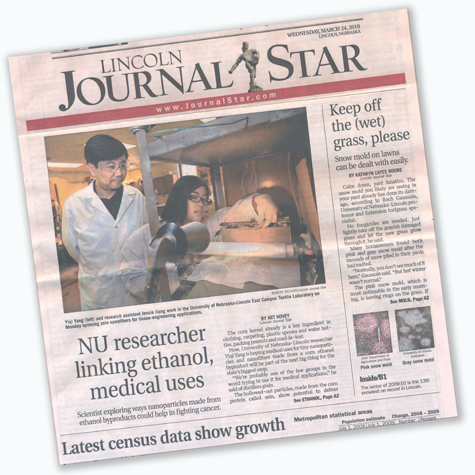 Dr  Yiqi Yang's research featured on Lincoln Journal Star
