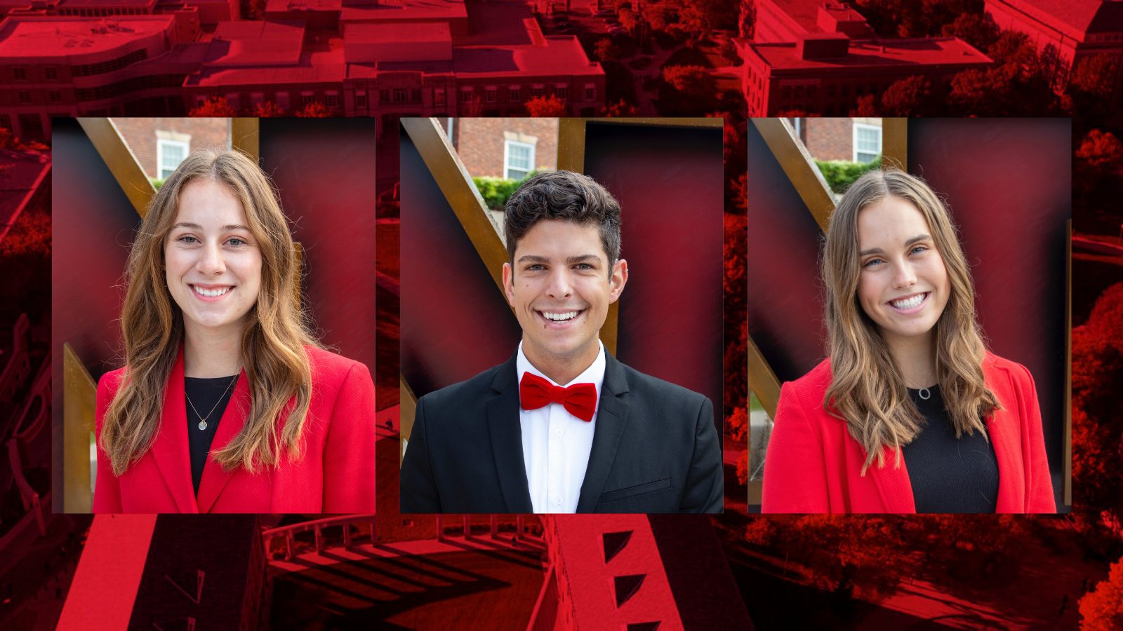 Three professional headshots on a red background.