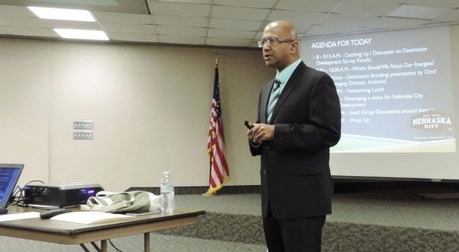 Dipra Jha facilitates a tourism workshop Jan. 28 in Nebraska City.