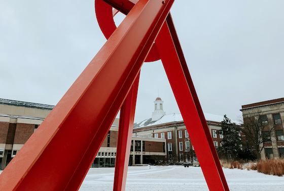 Campus snow photo.
