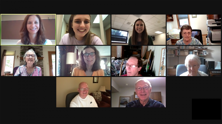 Clinicians and participants smile for a group screenshot during a Zoom meeting for the LOUD Crowd.