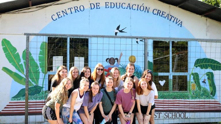 Husker students pose for a photo at the Centro de Educación Creativa in Monteverde, Costa Rica, in 2019