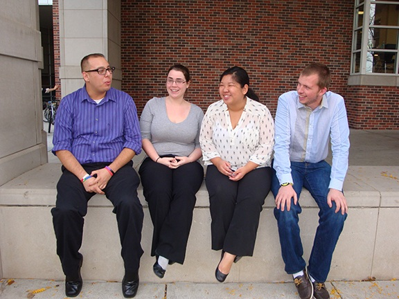 UNL students (L-R) Joel Orozco-Almeida, Jessica Weed, Lynn Huynh and Kevin Rush attend 2014 Institute for Social Justice Nov. 9-11 in Seattle.