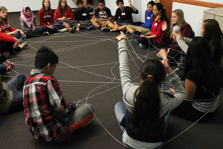 UNL and ELL students participate in an icebreaker activity