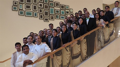 Dipra Jha is shown with participants in his workshop at the Trident Hotel in Hyderabad, India.